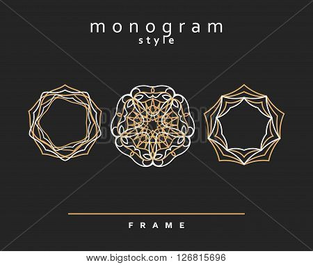 Monogram in a contemporary style. Interlocking objects. Monogram style. The frame for the design.