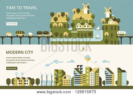 Infographic - modern city, industry, ecosystem and travel. Flat design. Vllage in mountains, mountain tunnel. Transport links