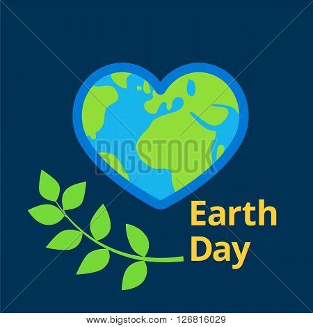 Earth day written near flat planet earth vector in shape of heart sign, illustration design for greeting cards or banners on dark blue space background, planet heart and green leaves, Earth day icon