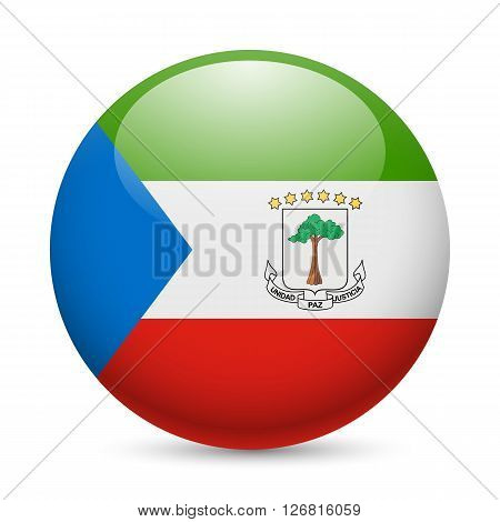 Flag of Equatorial Guinea as round glossy icon. Button with flag design