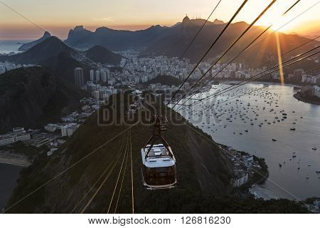 Spectacular view of Guanabara Bay, Praia Vermelha, Copacabana, Botafogo, Urca and Corcovado from Sugar Loaf Mountain at sunset, Rio de Janeiro, Brazil