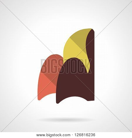 Curved colorful arm chair. Furniture for modern interior. Home comfort and rest. Furniture store. Flat color style vector icon. Web design element for site, mobile and business.