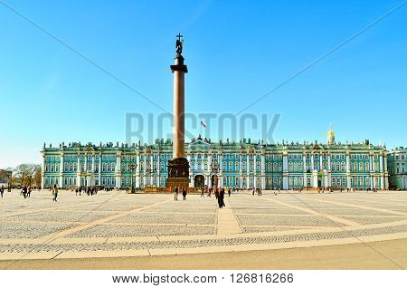SAINT-PETERSBURG RUSSIA - MARCH 17 2015. Architectural ensemble of Palace Square - Winter Palace and Alexander Column. Palace square the central city square.