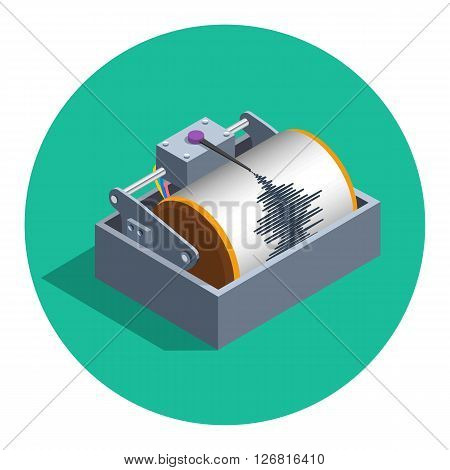 Earthquake analog seismograph isolated in circle flat color vector illustration, isometric style flat seismometer recording tool icon teaser