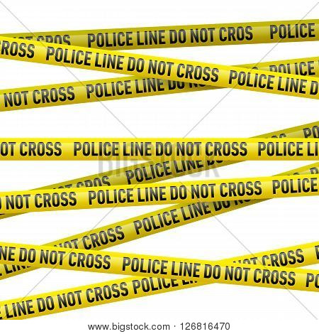 Realistic yellow tape with Police line do not cross text. Illustration on white background