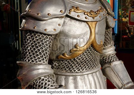 Torso of a suit of armour on display