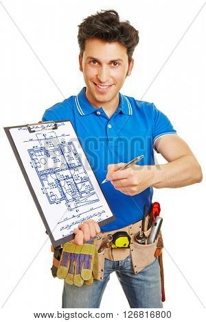 Craftsman drawing blueprint of a home on a clipboard