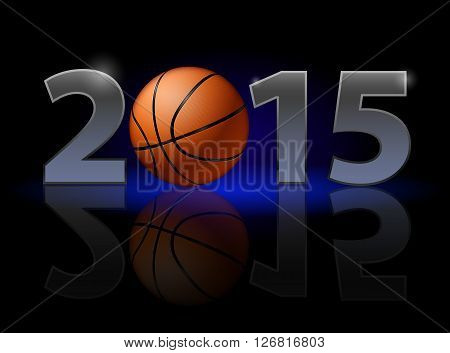 New Year 2015: metal numerals with basketball instead of zero having weak reflection. Illustration on black background.