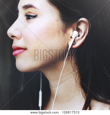 Woman Listening Music Media Entertainment Relaxation Concept