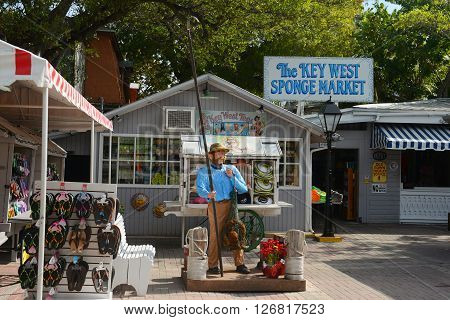 KEY WEST, FL, USA - JAN 1: Key West Sponge Market at Mallory Square on Jan 1st, 2015 in Kew West, Florida, USA.