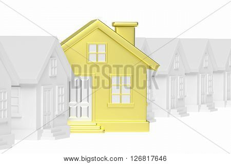 Golden Unique House Standing Out From Row Of Houses