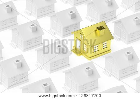 Golden Unique House Standing Out From Crowd Of Houses