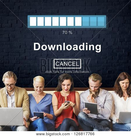 Downloading Transferring Network Information Technology Concept