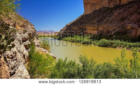 Rio Grande river flows through Santa Elena Canyon at Big Bend National Park