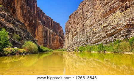 Rio Grande river flows through Santa Elena Canyon in Big Bend National Park
