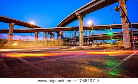 Traffic and freeway on Austin Texas city streets