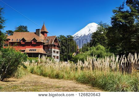 Petrohue lodge and Osorno volcano, Vicente Perez Rosales National Park, Patagonia, Chile