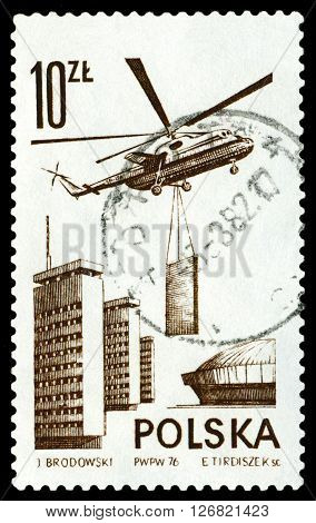 STAVROPOL RUSSIA - MARCH 30 2016: A stamp printed in the Poland shows Helicopter Mi-6 circa 1976