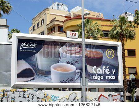 SANTA CRUZ, TENERIFE - APRIL 17, 2016: A Mcdonalds fast food chain billboard street  advertisement in Santa Cruz, Tenerife
