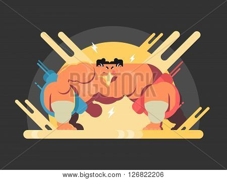 Athletes sumo fight. Sport japan, wrestler japanese fat and strength, vector illustration