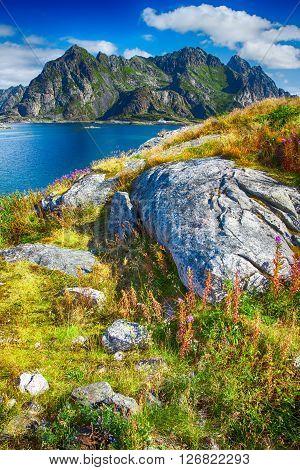 View To Norwegian Mountains In Henningsvaer, Lofoten, Norway.