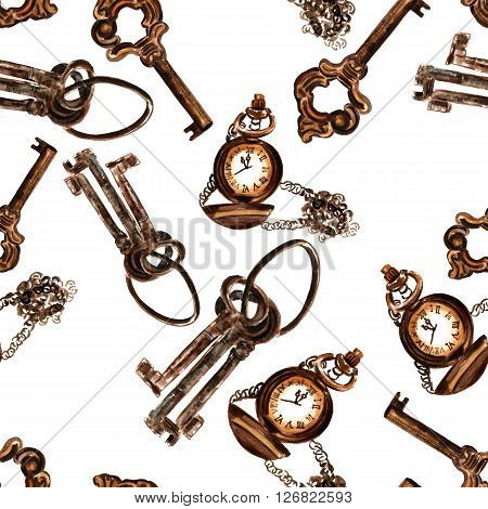 Seamless background pattern with watercolor drawings of vintage keys and chain watch