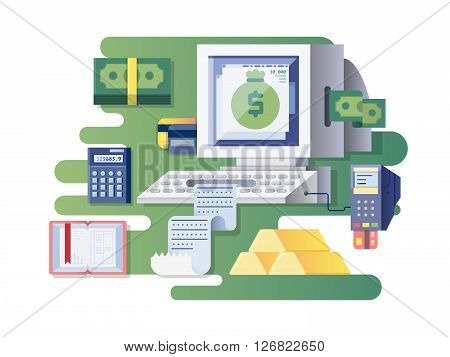 Financial computer cash register. Device and electronic finance, transaction money, vector illustration