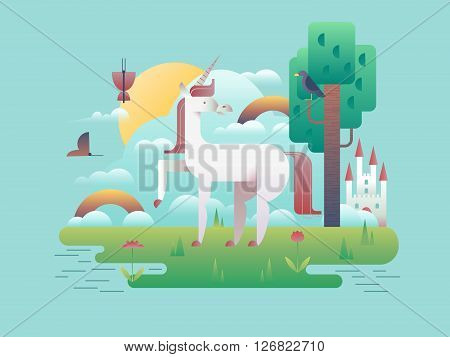 Unicorn animal in nature. Cartoon horse wild fantasy, stallion magic legend, vector illustration