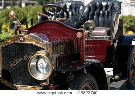 The French De Dion Bouton car is exposed to retro parade in the town of Sliven, Bulgaria, April 16.2016