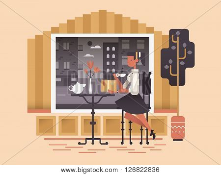 Girl sit in cafe. Young woman sitting and drink cup of tea or coffee. Vector illustration