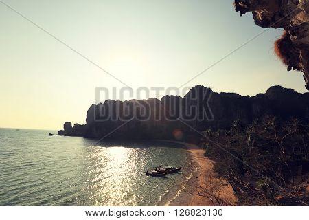 closeup of beautiful sunset landscape at seaside