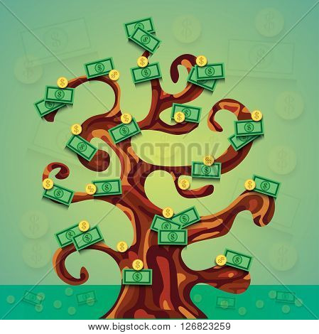 money success tree illustration with a lot of dollar cash and coins