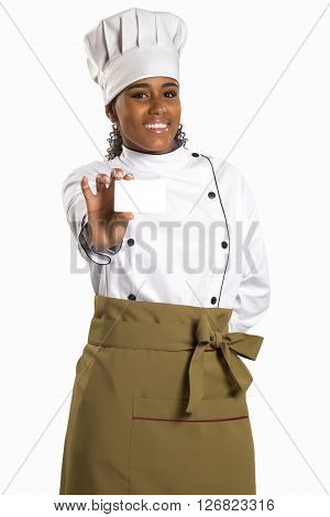 Chef, Baker Or Cook Woman Showing Blank Sign Card Wearing Chefs Uniform And Hat.