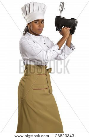 Woman Cook In Chef Hat With Electric Mixer.