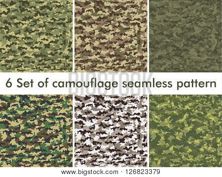 Seamless set of camouflage military pattern. Cloth for infantry. Abstract background. Vector illustration, EPS10