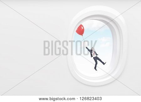Businessman flying using a balloon in airplane porthole. Mock up 3D Rendering
