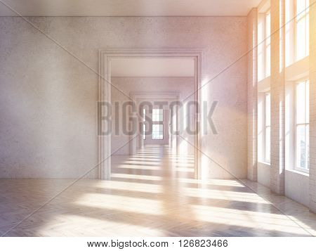 Sunlit concrete interior design with wooden floor and archway. Toned image. 3D Rendering