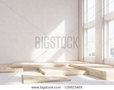 Sunlit interior design with blank concrete wall and wooden fragments on the floor. Mock up 3D Rendering