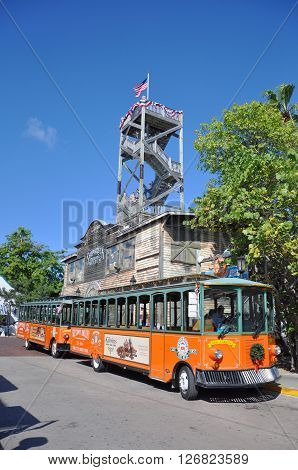 KEY WEST, FL, USA - DEC 20: Key West Old Town Trolley and Shipwreck Museum on December 20th, 2012 in downtown Key West, Florida, USA.