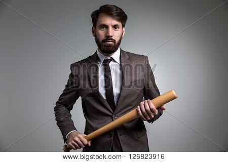 Businessman Bat In Hands
