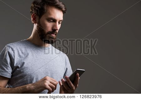 Bearded Man Smartphone