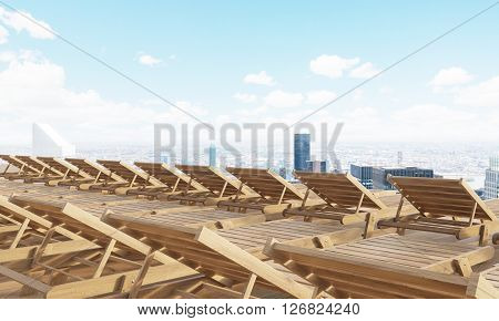 Rearview of numerous wooden chaise longues with New York city view. 3D Rendering