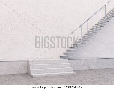 Empty concrete interior with stairway and blank wall. Mock up 3D Rendering