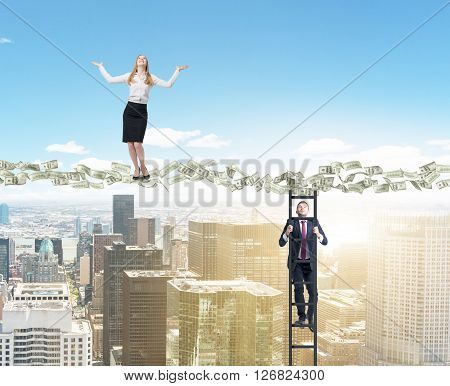 Dollar banknote path with businessman climbing ladder and businesswoman standing on it above sunlit New York city