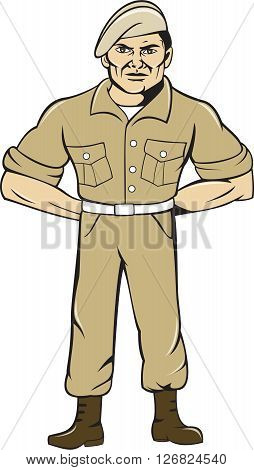 Illustration of army ranger standing in full attention with hands at the back viewed from front set on isolated white background done in cartoon style.