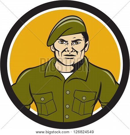 Illustration of an army ranger standing in full attention viewed from front set inside circle on isolated background done in cartoon style.