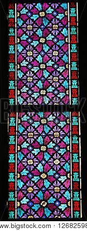 Stained Glass - Pattern Of Leaves And Flowers