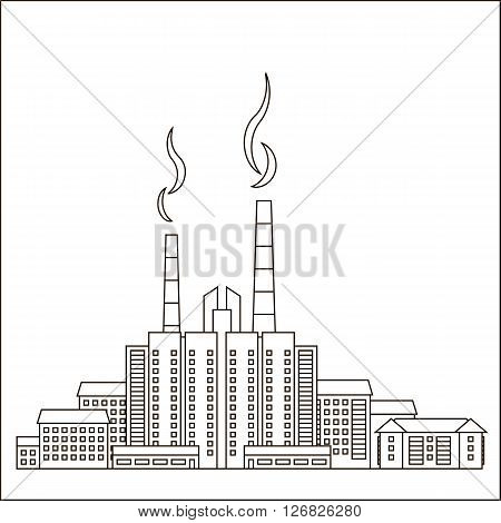 Urban residential area consisting of large and small homes and shops. In the background smokestacks with smoke. The concept of infrastructure. Vector illustration with a black outline isolated on white background.