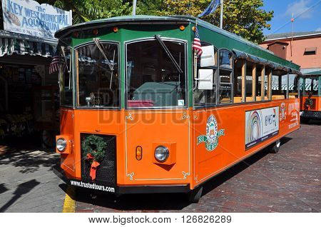KEY WEST, FL, USA - DEC 20: Key West Old Town Trolley on December 20th, 2012 in downtown Key West, Florida, USA.
