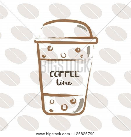 Coffee time on disposable coffee cup with coffee beans on background